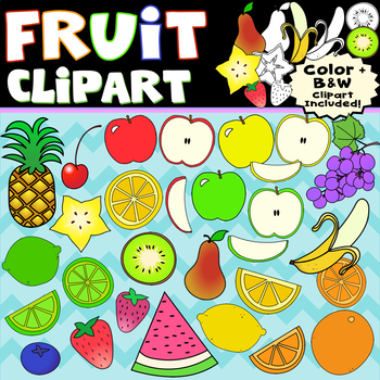 Fruit Clip Art Bundle, Individual Fruits Included ~ Apple Strawberry Kiwi & More