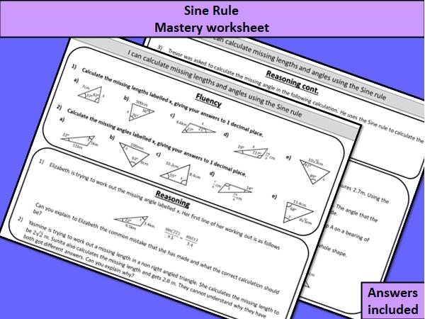 Sine rule - mastery worksheet
