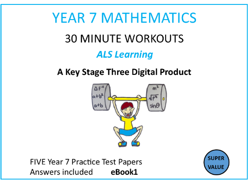 FIVE YEAR 7 MATHS PRACTICE TESTS-eBook 1