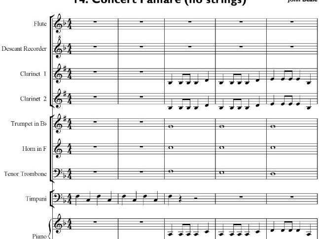 Concert Fanfare for school orchestra (no strings) – Sibelius 5 file