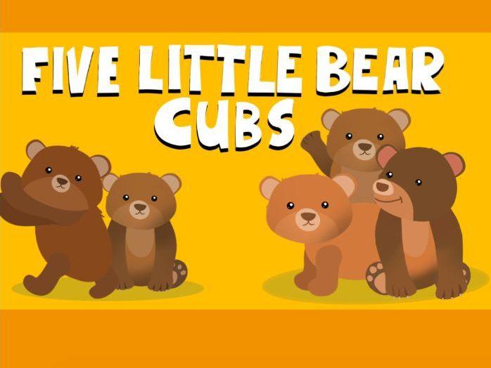 Music video for preschool children  - 'Five Little Bear Cubs'