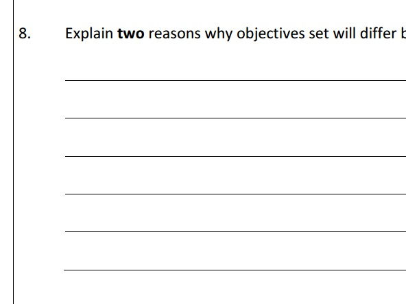 AQA GCSE Business (9-1) 1.3 Setting Business Aims and Objectives - Assessment