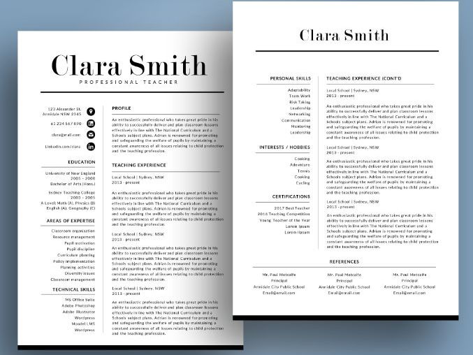 Easy to edit teacher resume template for MS PowerPoint (pptx)