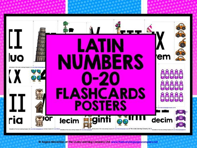 PRIMARY LATIN NUMBERS ROMAN NUMERALS 1-20 FLASHCARDS POSTERS