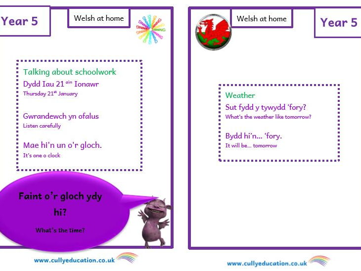 Welsh at home Booklets and Audio files for Parents - Year 5