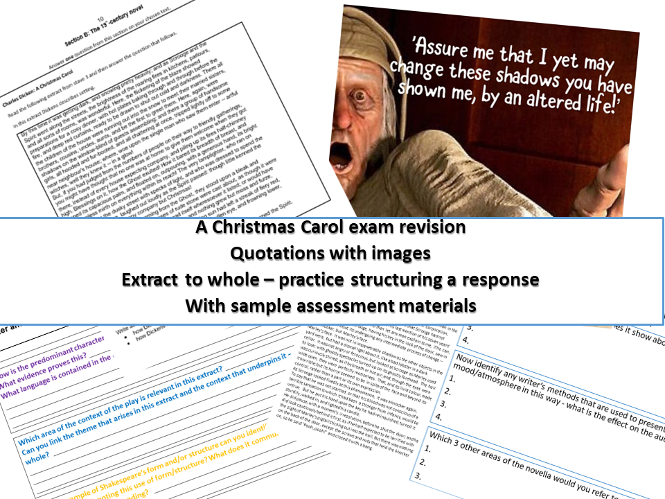 A Christmas Carol GCSE exam revision bundle with sample assessments & quotation images