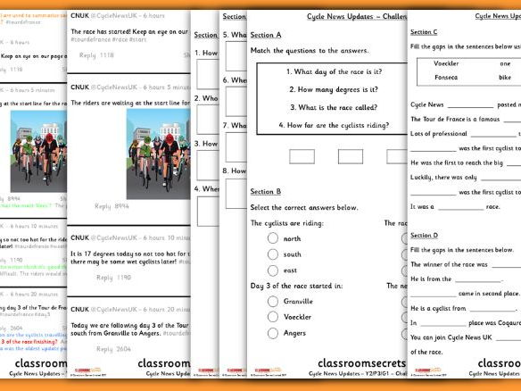 Year 2 Tour de France Whole Class Guided Reading Comprehension Cycle News Updates