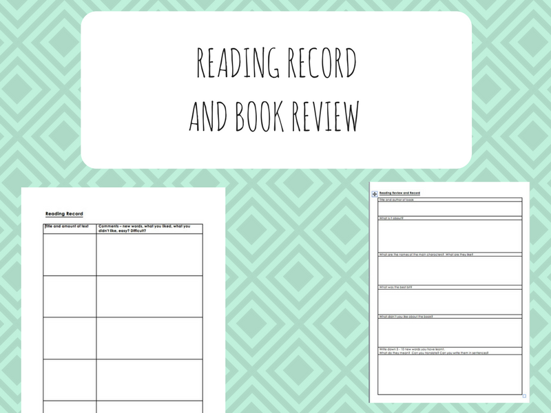 Reading Record Template and Reading Review Template (ESOL/ESL/EFL/EAL/Literacy/SLD)