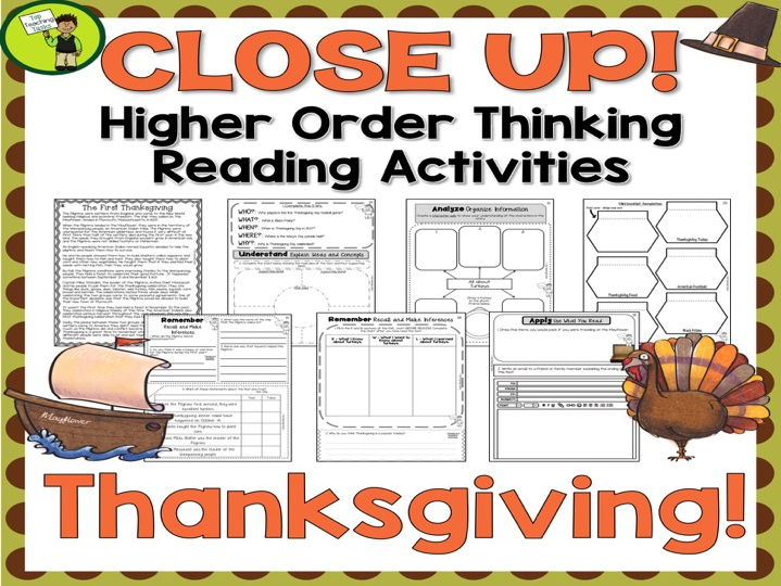 Thanksgiving Day Close Reading Passages with Higher Order Thinking Activities