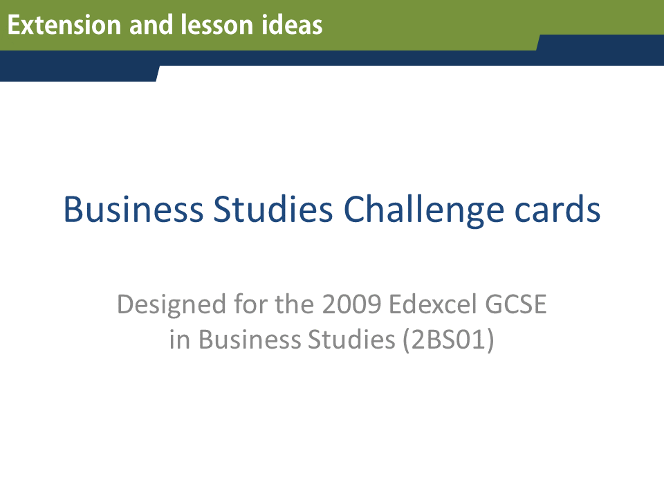 GCSE Business Studies Revision and Challenge cards