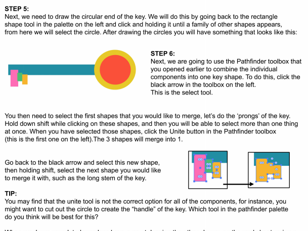 Adobe Illustrator Pathfinder Step by Step Instructions and Task Sheet