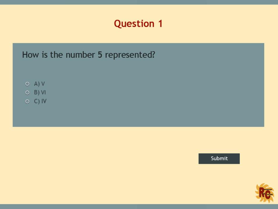 Roman Numerals:  Grade 4,5,6,7/Year 5, 6,7,8