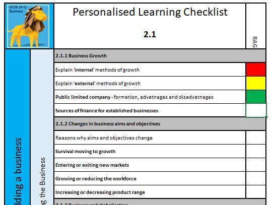9-1 GCSE Business Theme 1 Revision Bundle