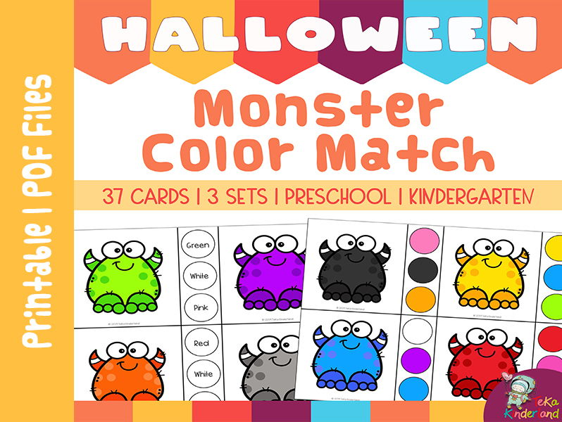 Halloween Activities Monster Color Matching Clip Cards | TeKa Kinderland