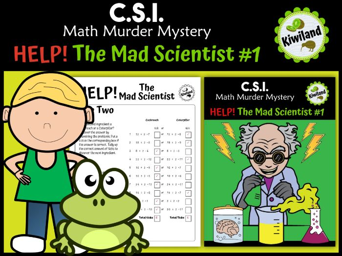CSI Math Murder Mystery - HELP! The Mad Scientist #1 (x2 and x5 times tables)