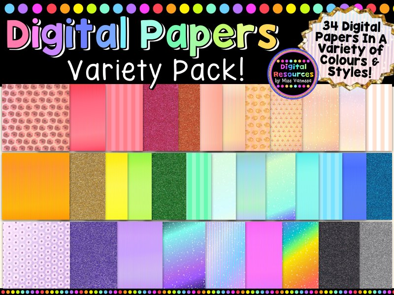 Digital Papers Variety Pack, An Assortment of Styles & Colours