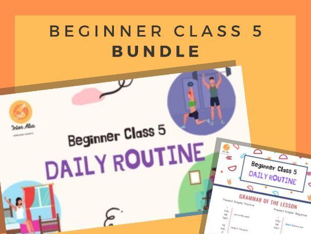 BUNDLE - English Beginner Lesson 5 - Daily Routine - ESL - TEFL - EFL