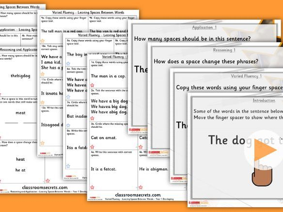Grammar Year 1 Leaving Spaces Between Words Autumn Block 1 Step 2 Lesson Pack