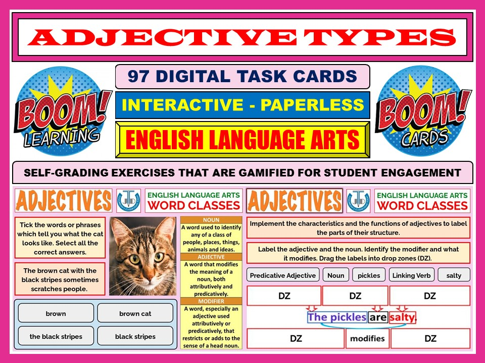 ADJECTIVE TYPES: 97 BOOM CARDS