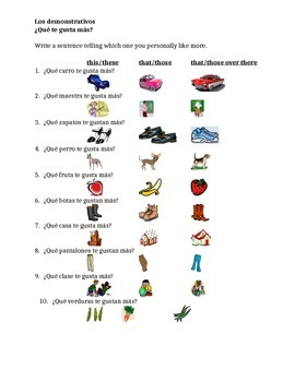 Demonstrativos (Demonstratives in Spanish) worksheet