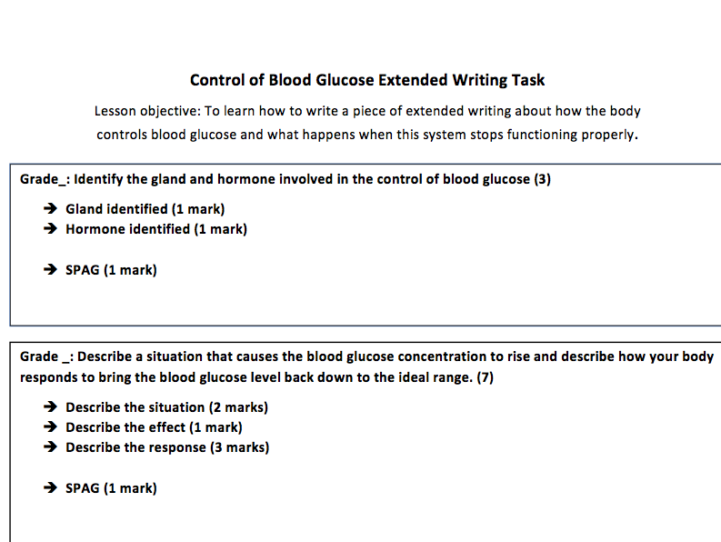 Homeostasis: Blood Glucose Extended Writing