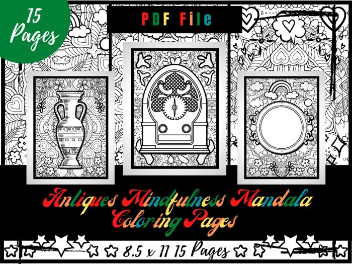 Antiques Mindfulness Mandala Colouring Pages, Antiques Printable Colouring Sheets