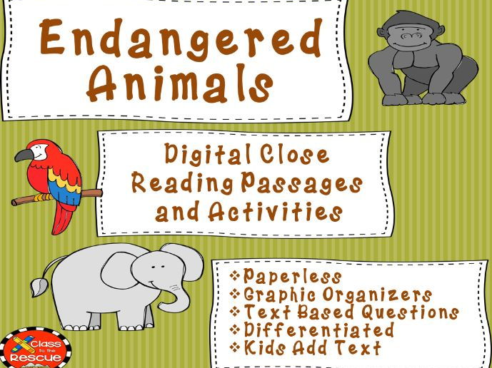 Digital Endangered Animal Non Fiction No Prep Close Reading