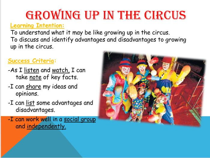 Growing up in the Circus