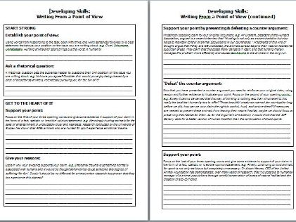 Supported Writing - Point of View (Language Paper 2 Q5)