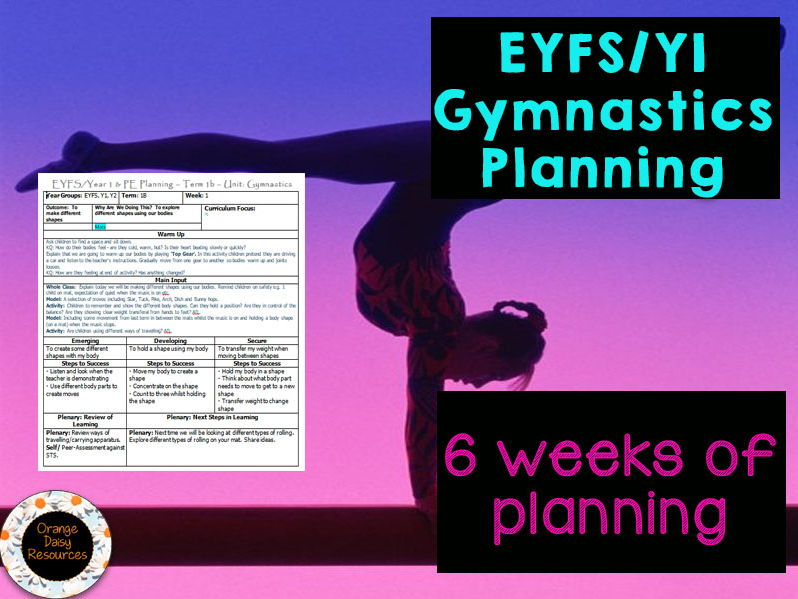 EYFS / Y1 Gymnastics Planning for 1 term - PE