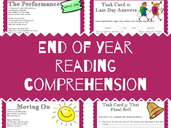 End of Year Reading Comprehension Inference Poetry