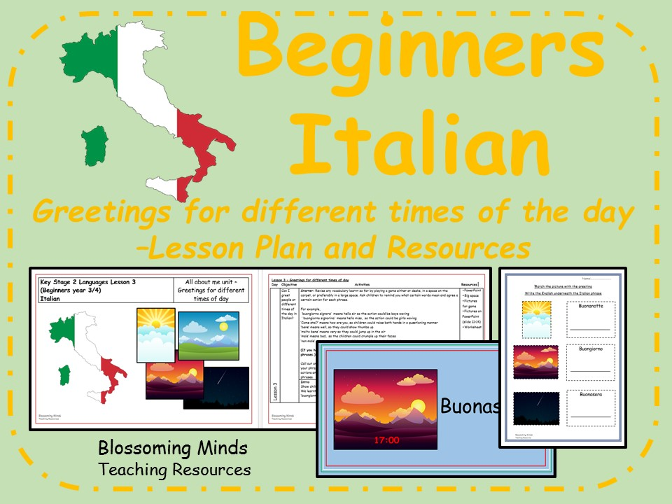 Italian lessons and resources - Greetings for different times of day