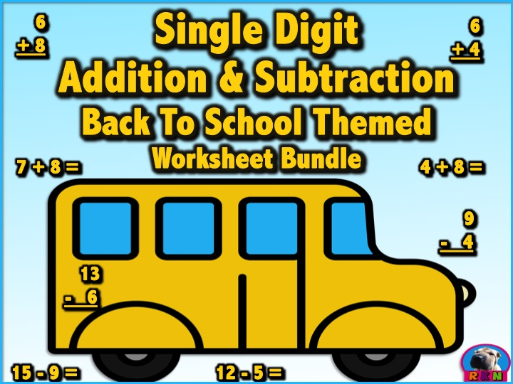 Single Digit Addition & Subtraction Worksheet Bundle - Back to ...