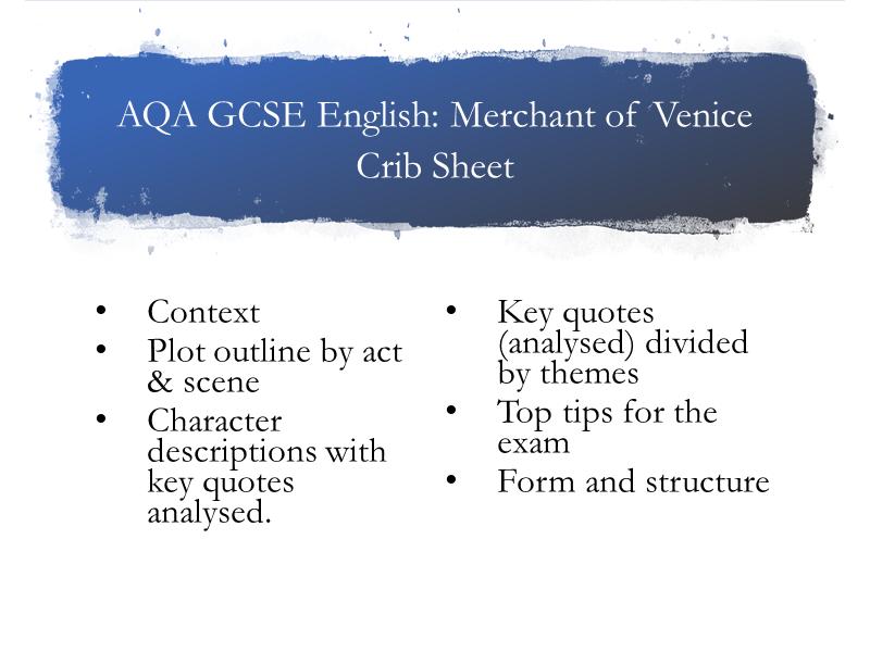 AQA Merchant of Venice Crib Sheet