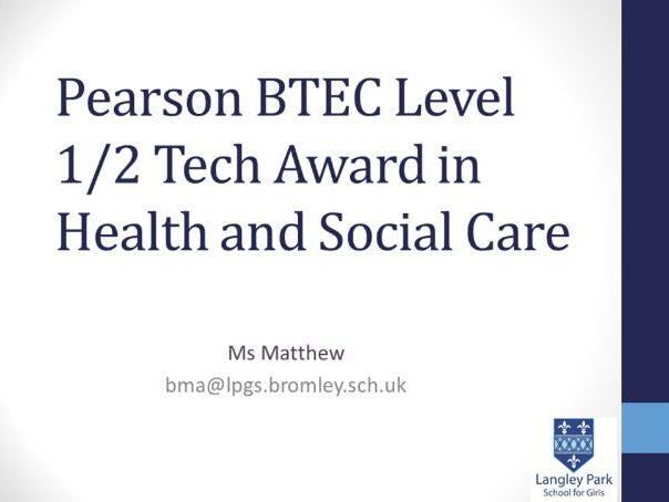 BTEC Tech Award Health and Social Care Options Presentation