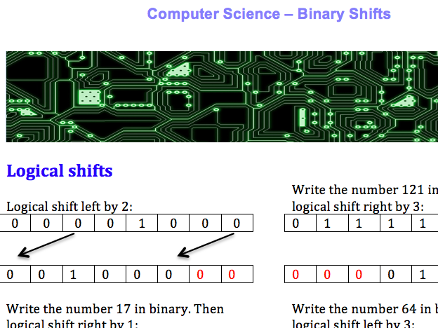 GCSE Computer Science binary shifts worksheet