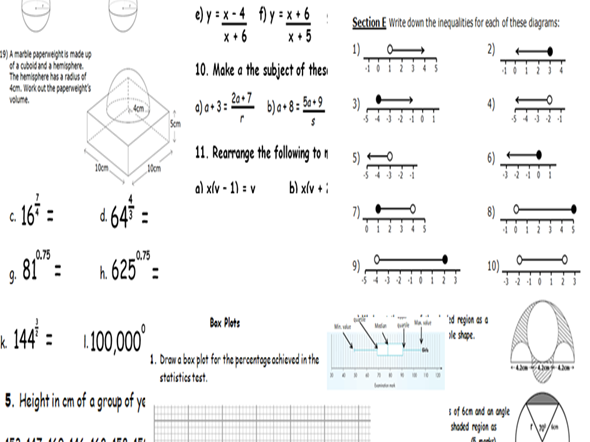 GCSE MATHS BUNDLE. TOTAL INDIVIDUAL PRICE = £13.94. BUNDLE PRICE = £4.49. GREAT FOR REVISION! ANSWERS TO EVERY QUESTION. MORE THAN 50% off  INDIVIDUAL PRICE!