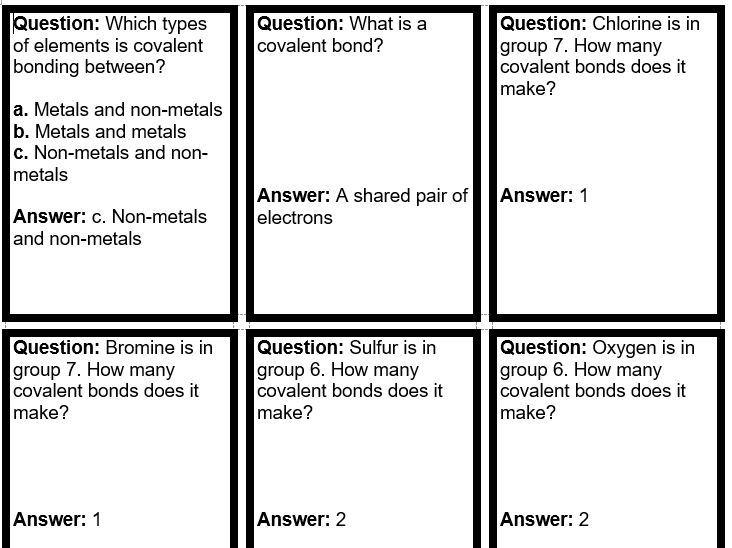 Covalent bonding quiz quiz trade cards GCSE Edexcel 9-1 combined science