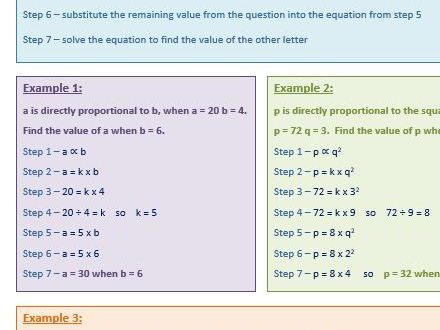 Direct Proportion Help Sheet By Rebeccajade94 Teaching Resources Tes
