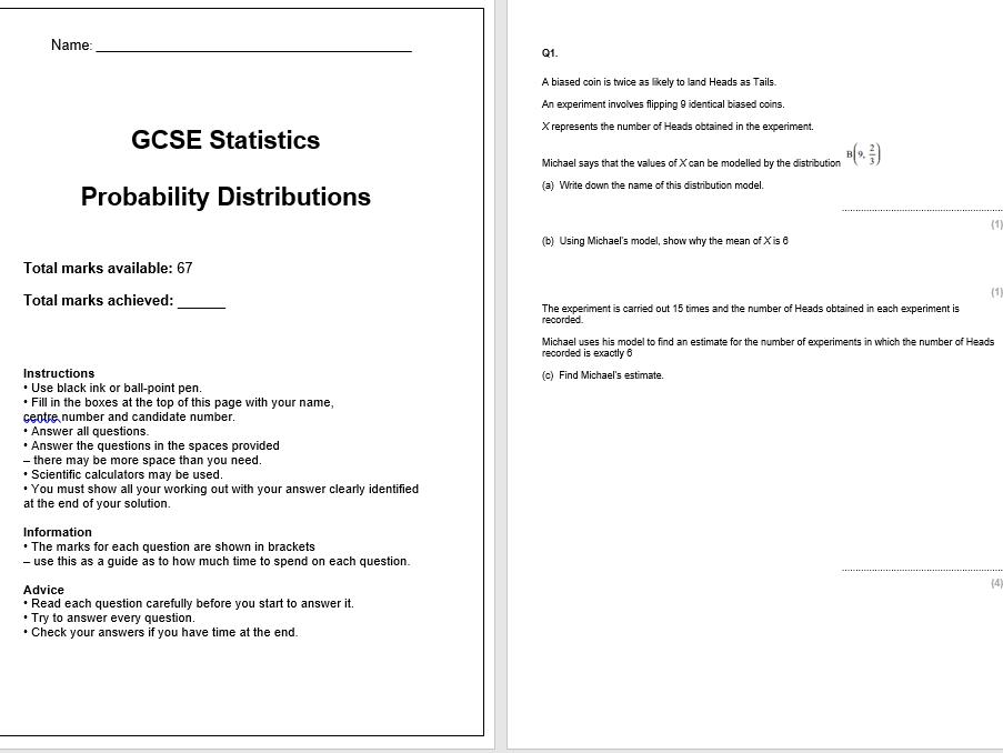 Probability Distributions Exam Questions (GCSE Statistics)