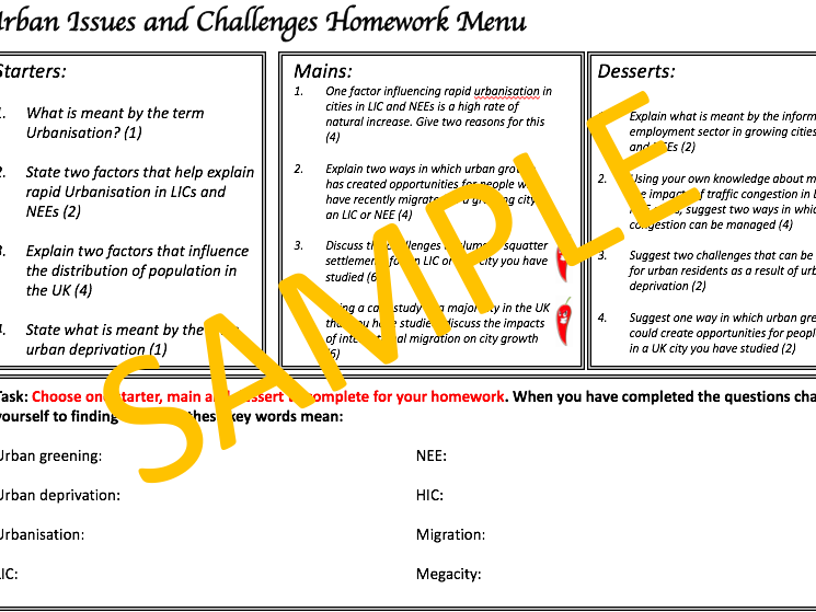 Urban issues and challenges homework menu - AQA 1-9 Geography