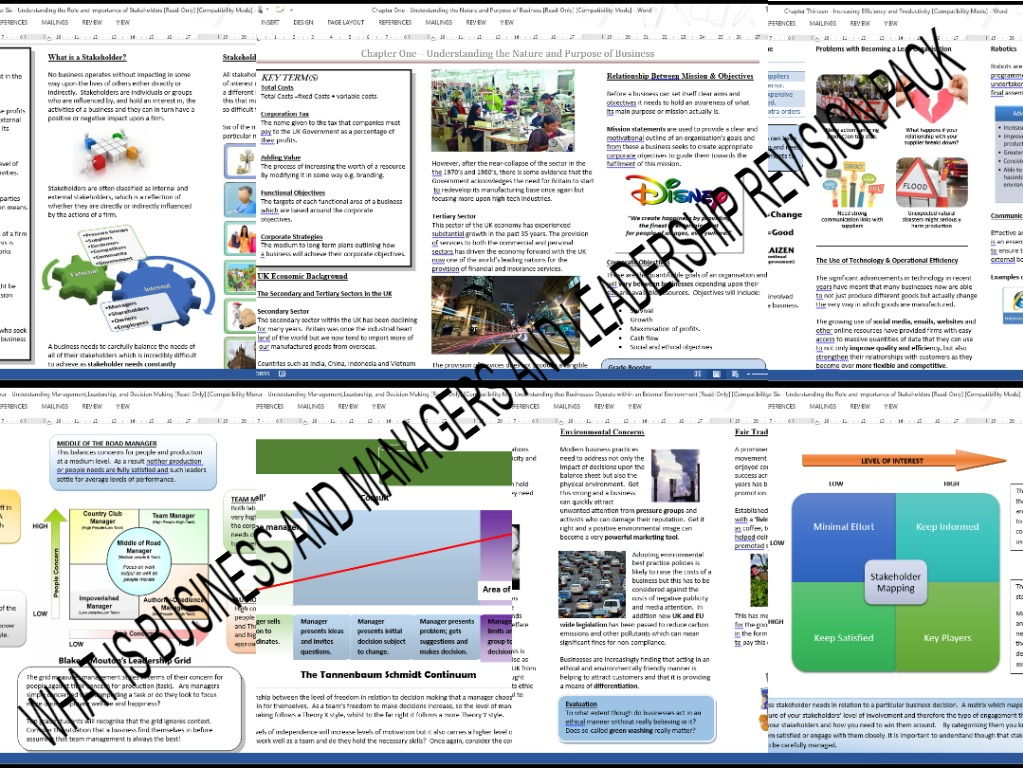 AS Business What is Business and Managers and Leadership Revision Pack