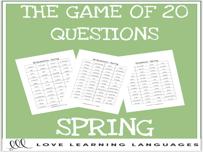 Spring 20 questions games-No prep speaking, listening and describing activities