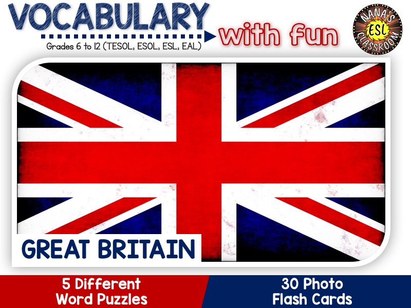 Great Britain - Country Symbols: 5 Different Word puzzles and 30 Photo flash cards (ESL, ELA, ELL)
