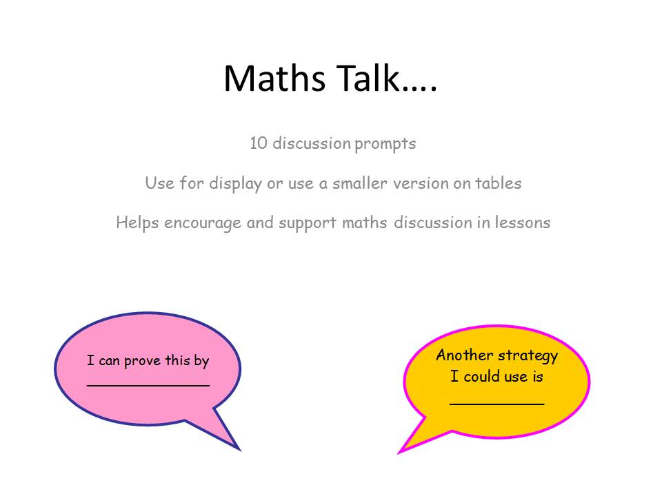 Math talk discussion prompts for display