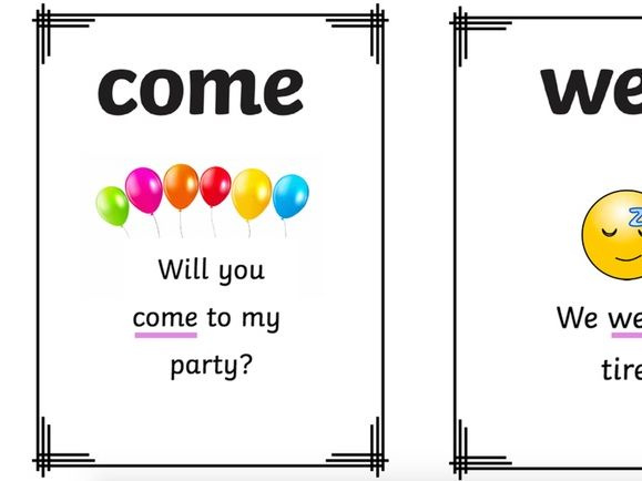 set 2 keyword/tricky word flashcards with sentences