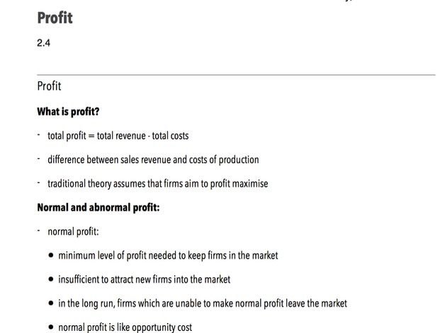 Profit - A-Level Economics
