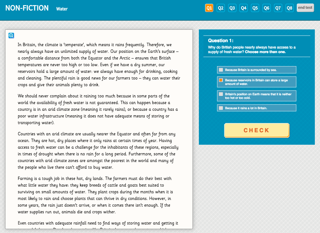 Water - Interactive Exercise - Year 4 Reading Comprehension (Non-fiction)