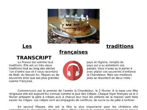 French Traditions & Festivals - Listening MP3 & Transcript