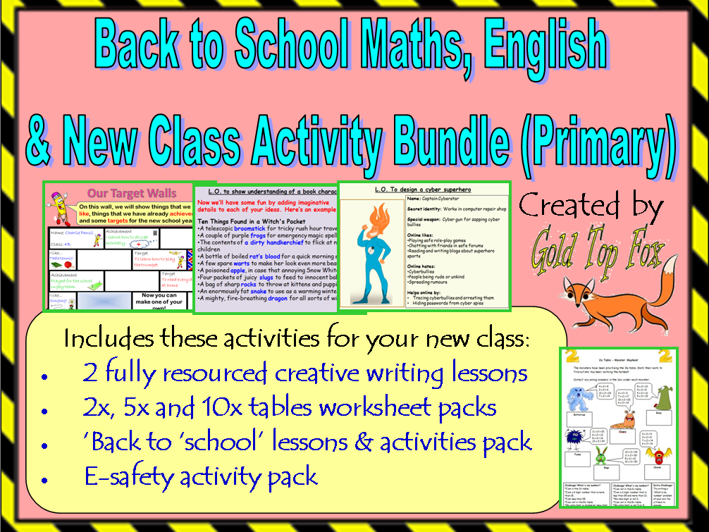 Back to School Maths, English and New Class Activity Bundle (Primary)